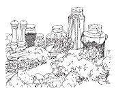 Vector illustration of a pen and ink drawing of food and glass containers on a white background.