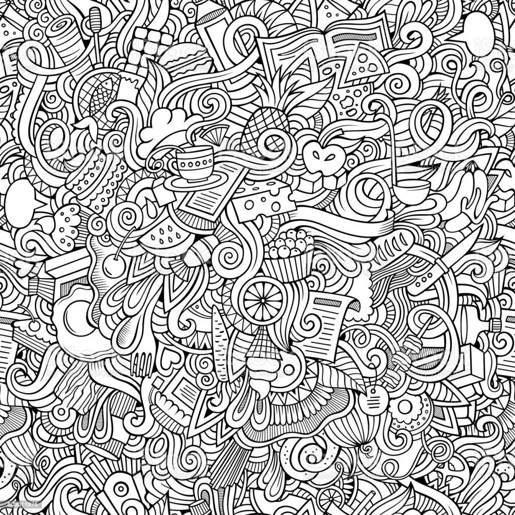 hand drawn food seamless pattern vector art illustration