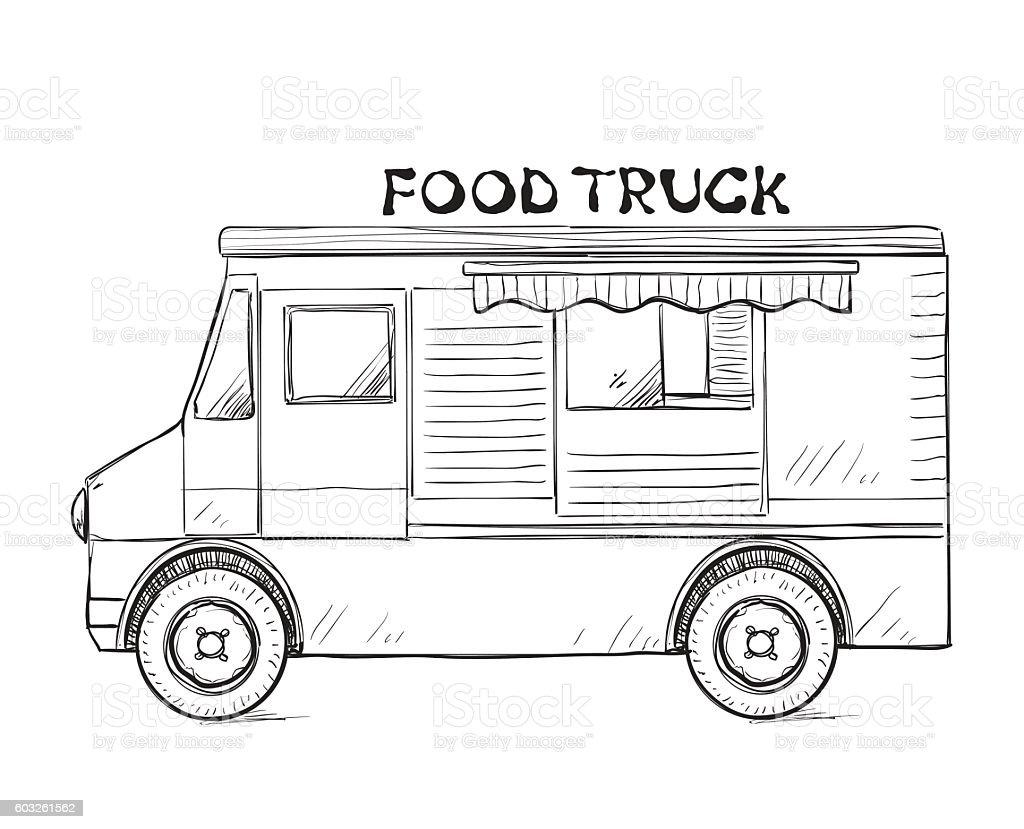 Hand Drawn Food Truck Stock Vector Art 603261562 Istock