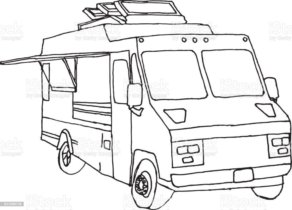 Hand Drawn Food Truck Royalty Free Stock Vector Art Amp