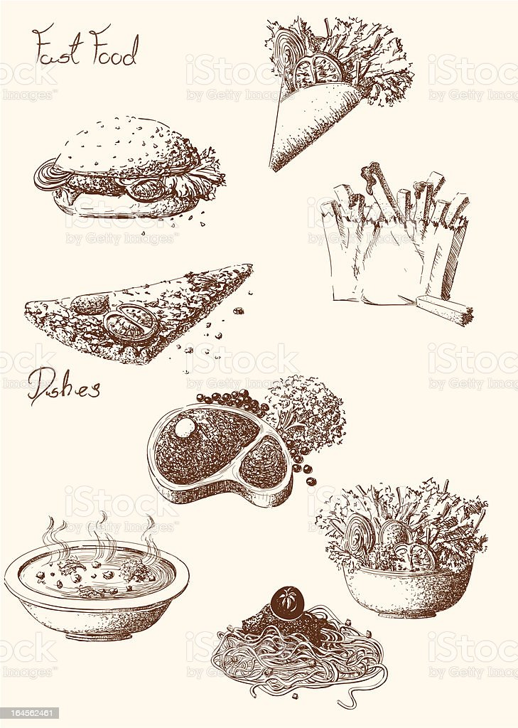 Hand Drawn Food royalty-free hand drawn food stock vector art & more images of backgrounds