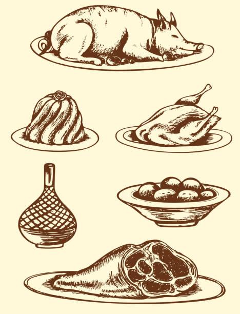 hand drawn speisen - schweinebraten stock-grafiken, -clipart, -cartoons und -symbole