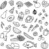 Variety of hand drawn doodle food items