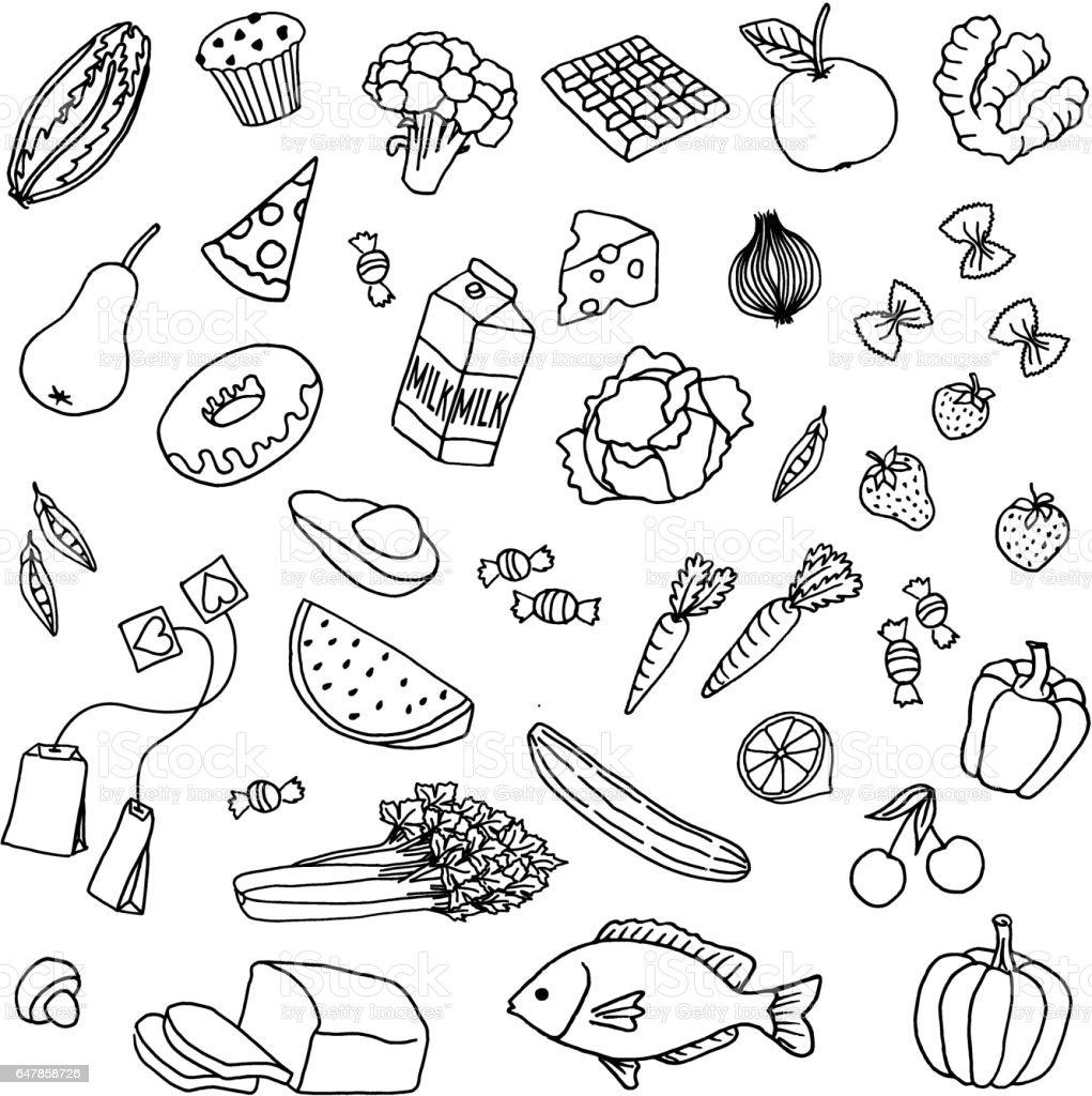 Hand drawn food vector art illustration