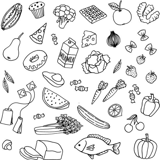 Hand drawn food Variety of hand drawn doodle food items fruit drawings stock illustrations