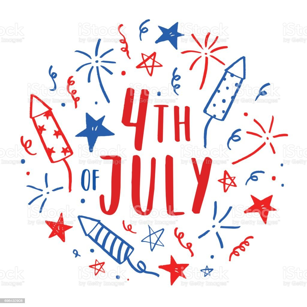 Hand drawn Fourth of July doodles. vector art illustration