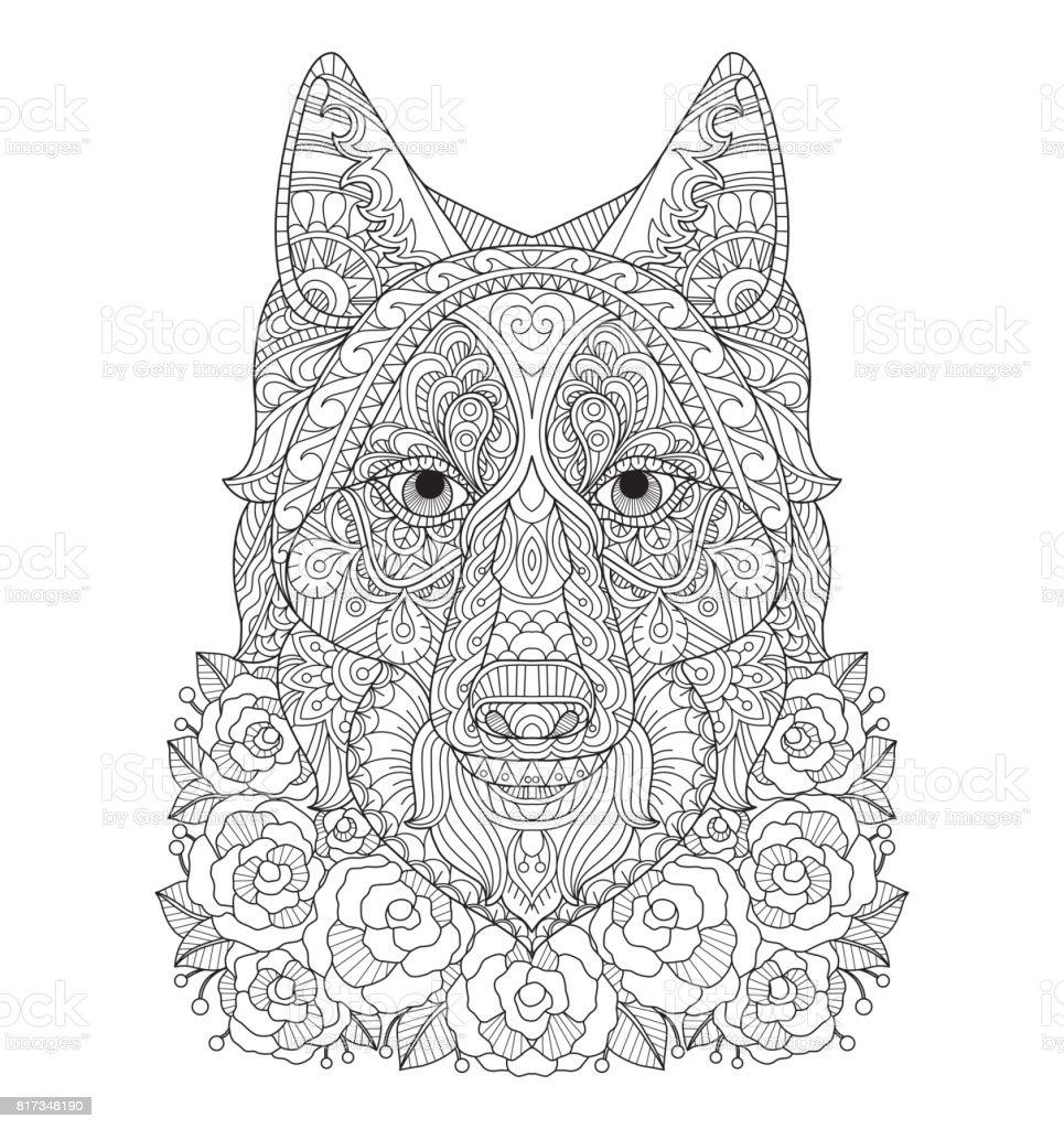Hand dras Fox i rosenträdgården för vuxen målarbok. vektorkonstillustration