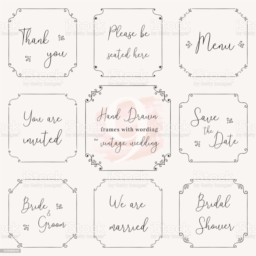 Hand Drawn Frame Doodle Vintage Wedding Frame Vector Design ...