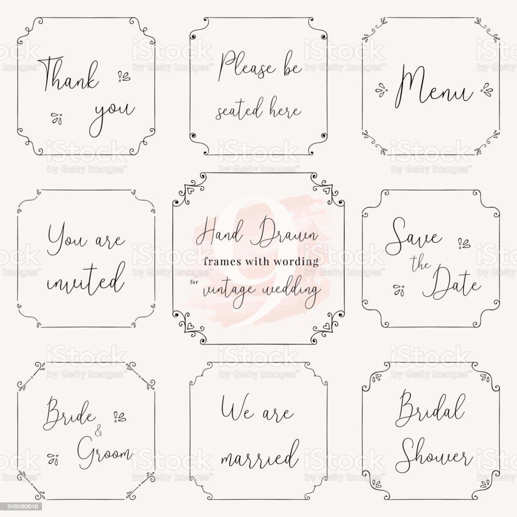 Hand drawn frame doodle. Vintage wedding frame vector design templates. Vintage frame vector clip art with wedding words. Wedding frame design vector images for card, menu, RSVP, invitation wording. vector art illustration