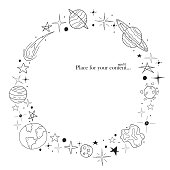 Hand drawn frame. Space elements in doodle style.