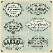 Hand drawn frames and banners on textured vintage background.EPS 10 file contains transparencies.File is layered with global colors.More works like this linked below.