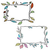Vector illustration of a set of hand drawn frames