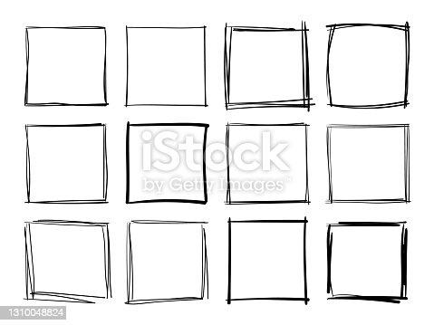 istock Hand drawn frames. Handdrawn square frame. Vector borders grunge template set. 1310048824