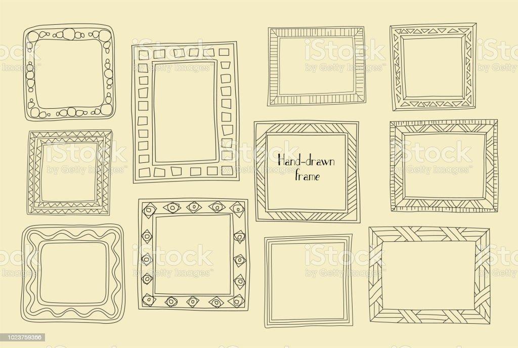Hand Drawn Frames Set Cartoon Greek Style Vector Dividers Graphic ...
