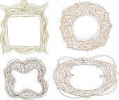 Set of different doodle frames.