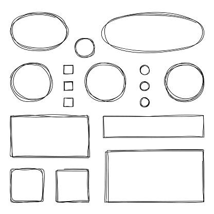 Hand drawn frames. Vector illustration. Sketch.