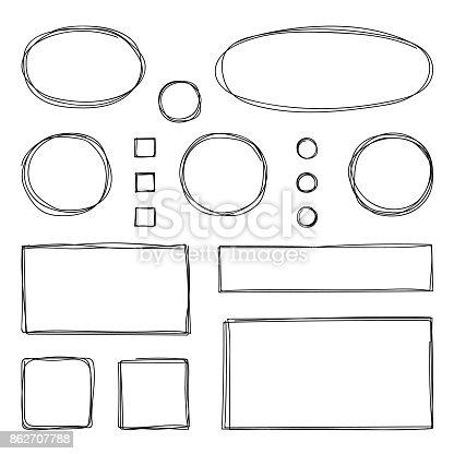 istock Hand drawn frames. Vector illustration. Sketch. 862707788
