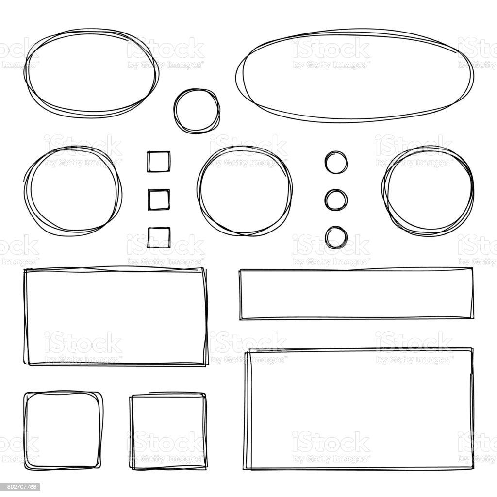 Hand drawn frames. Vector illustration. Sketch. векторная иллюстрация