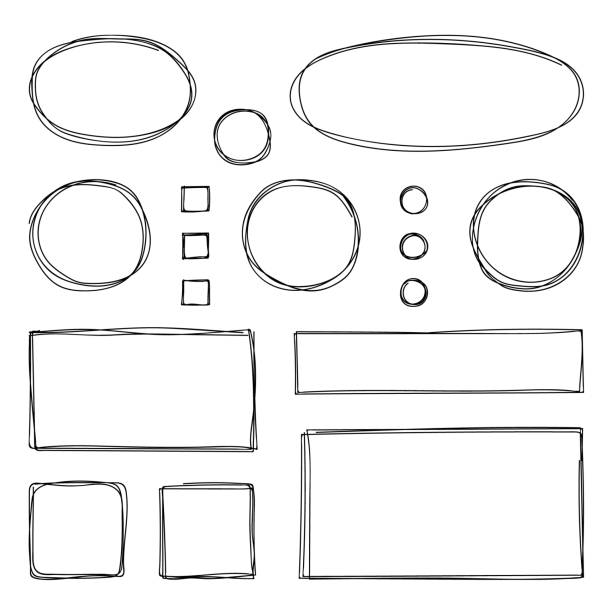 hand drawn frames. vector illustration. sketch. - szkic rysunek stock illustrations