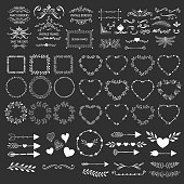 Hand drawn frames, wreaths, flourishes, borders, arrows. Vector hearts and garlands.