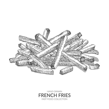 Hand drawn french fries. Vintage black and white fast food collection.