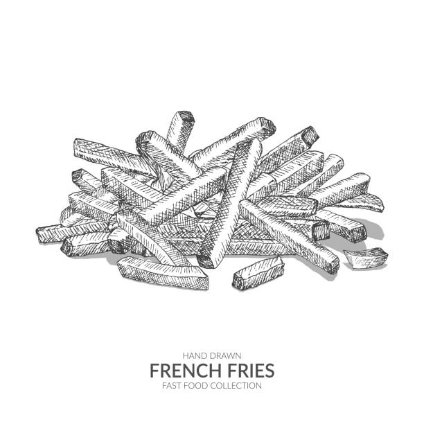 Hand drawn french fries. Vintage black and white fast food collection. Fast Food Illustration. french fries stock illustrations