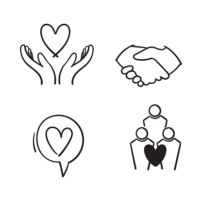 hand drawn Friendship and love line icons. Interaction, Mutual understanding and assistance business. Trust handshake, social responsibility icons. doodle