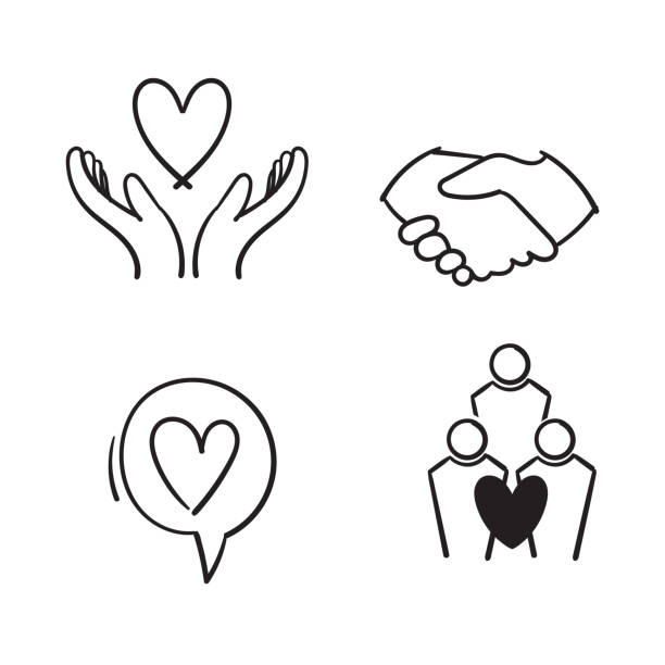 hand drawn Friendship and love line icons. Interaction, Mutual understanding and assistance business. Trust handshake, social responsibility icons. doodle hand drawn Friendship and love line icons. Interaction, Mutual understanding and assistance business. Trust handshake, social responsibility icons. doodle community drawings stock illustrations