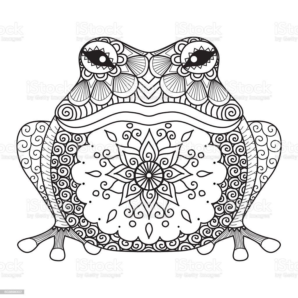 Hand Drawn Frosch Für Malbuch Für Erwachsene Tshirtdesign Stock