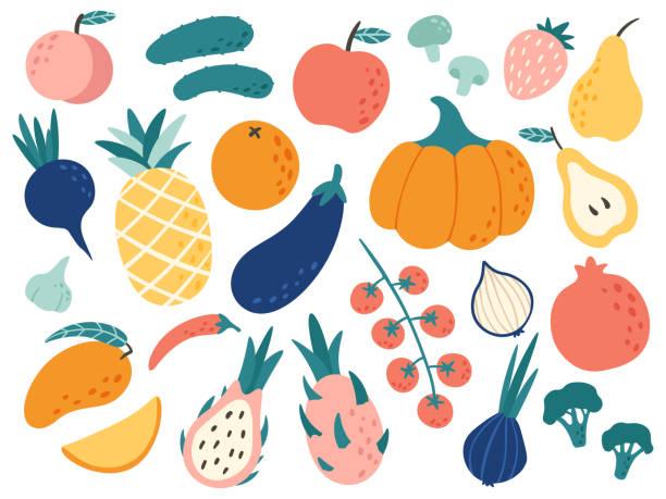 illustrazioni stock, clip art, cartoni animati e icone di tendenza di hand drawn fruits and vegetables. doodle organic food, vegan vegetable kitchen and doodles vector illustration set - aglio cipolla isolated