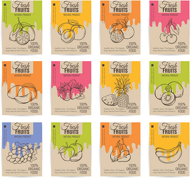stockillustraties, clipart, cartoons en iconen met hand drawn fruits posters set. - sapjes