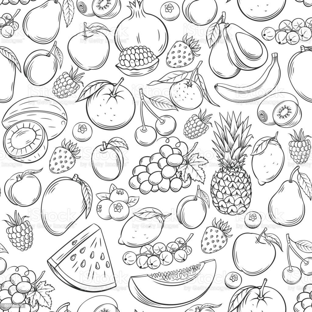 Dibujados a mano frutas patrón sin costuras - ilustración de arte vectorial