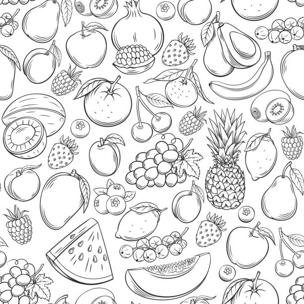 Hand drawn fruits seamless pattern Hand drawn fruits seamless pattern. Healthy food vector background. avocado patterns stock illustrations