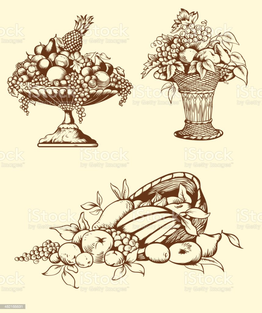 Hand drawn fruits royalty-free stock vector art