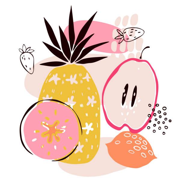 ilustraciones, imágenes clip art, dibujos animados e iconos de stock de frutas dibujadas a mano. ilustración vectorial. - conceptos y temas
