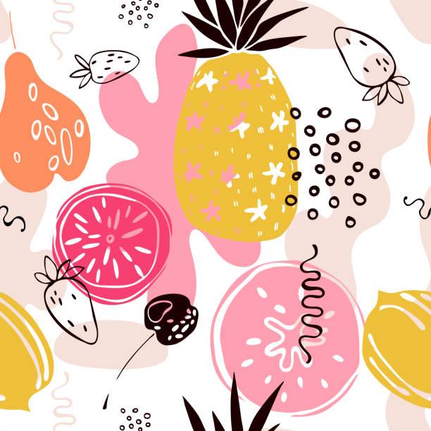 ilustraciones, imágenes clip art, dibujos animados e iconos de stock de frutas dibujadas a mano. patrón vectorial. - conceptos y temas