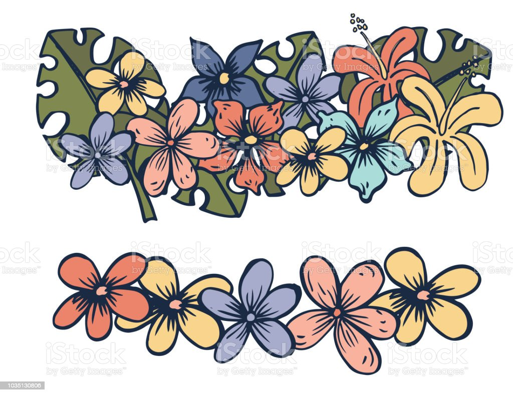 Hand Drawn Fun Cartoon Style Tropical Flower And Monstera Leaf Stock