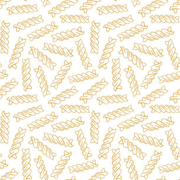 Hand drawn Fusilli Vector hand drawn pasta Fusilli. Seamless pattern. Endless background fusilli stock illustrations