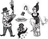 Hand drawn gambling and addiction set