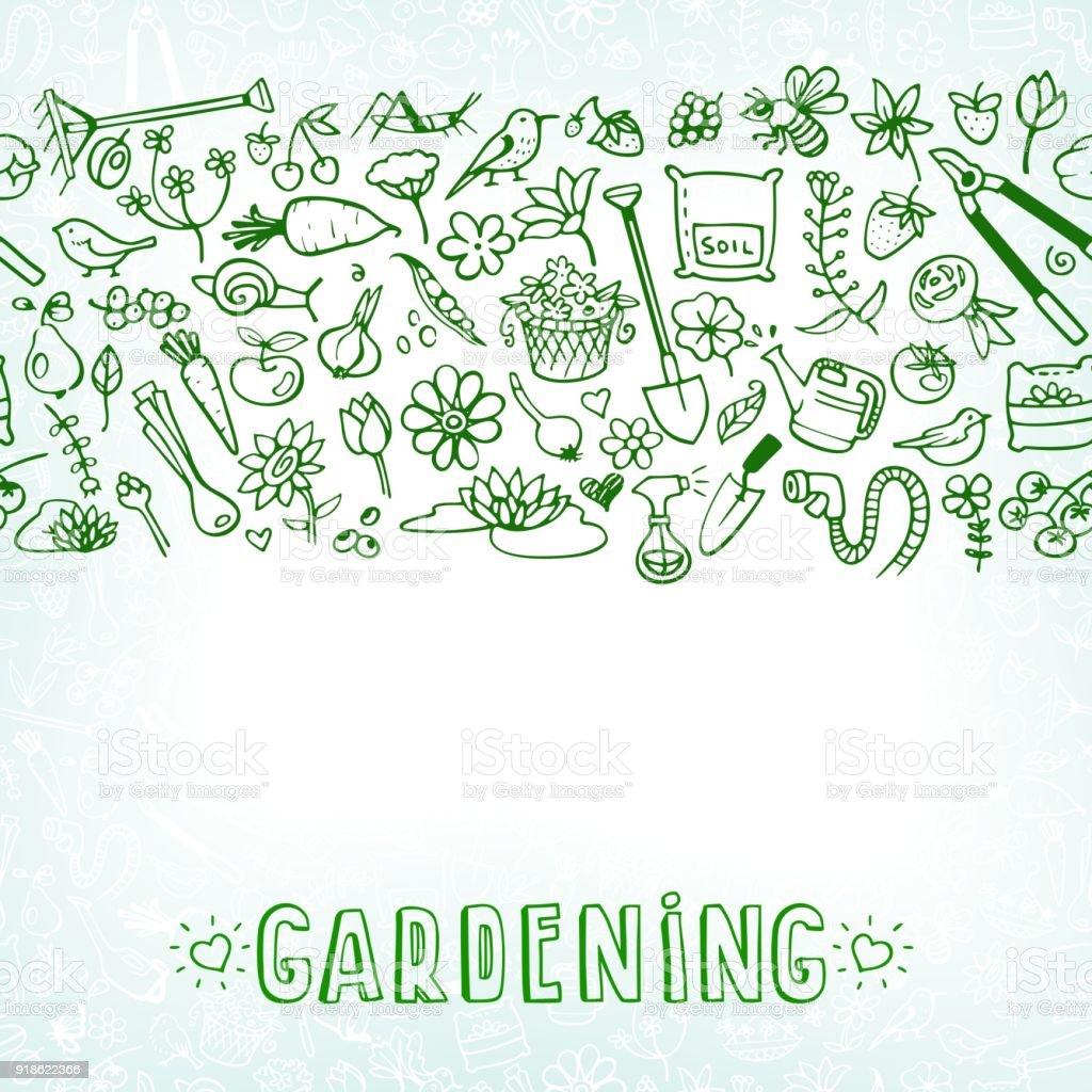 hand drawn garden icons background vector art illustration