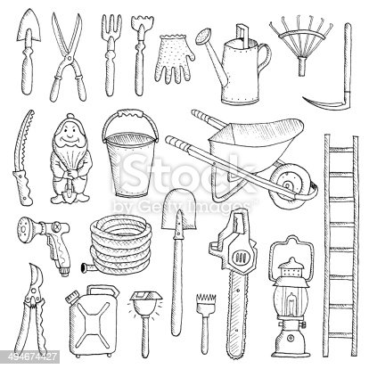 Hand Drawn Garden Tools Spring Gardening Sketch Stock