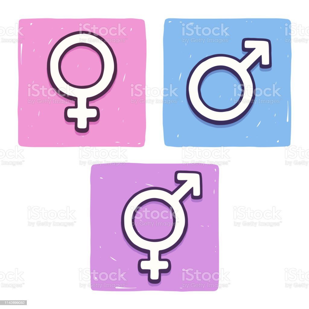 female, male and transgender or intersex. Sex and sexuality icons,...