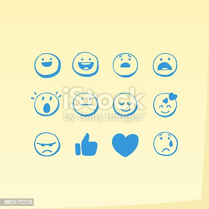 Vector illustration of a set of general emoticons on an adhesive note background