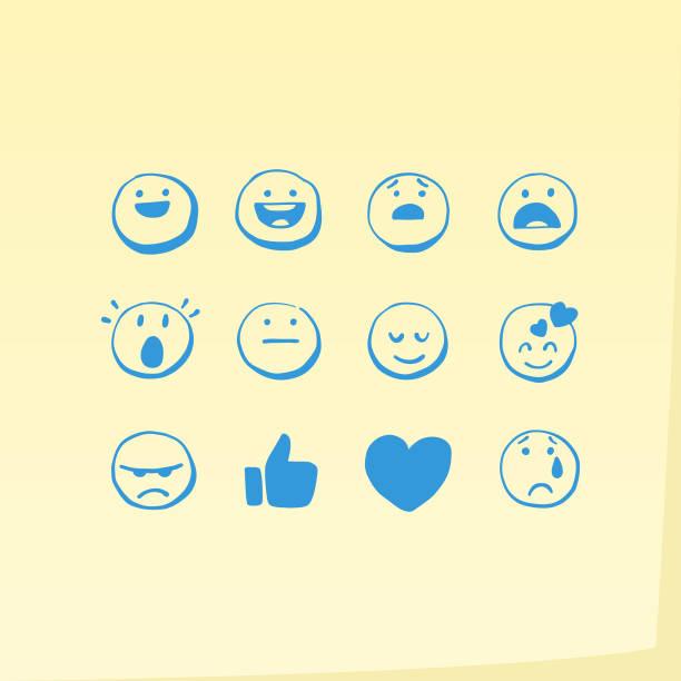 ilustraciones, imágenes clip art, dibujos animados e iconos de stock de mano dibujada emoticonos general nota adhesiva - emoji asustado