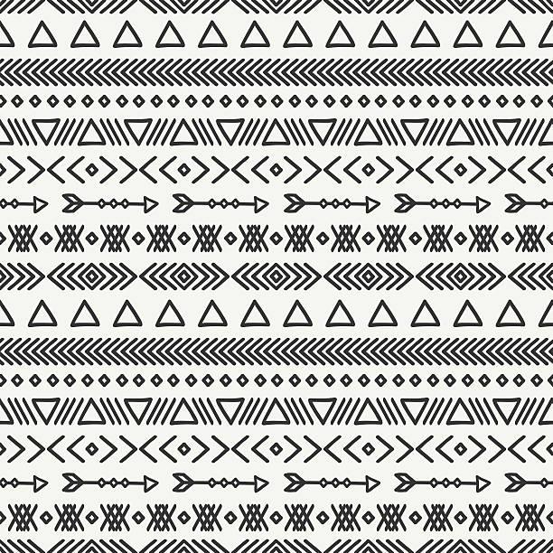 Mão desenhada geométrico étnica padrão sem emendas. Rabiscos style.Tribal nativos vetor. - ilustração de arte em vetor