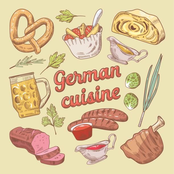 handgezeichnete deutsche küche essen doodle - sauerkraut stock-grafiken, -clipart, -cartoons und -symbole