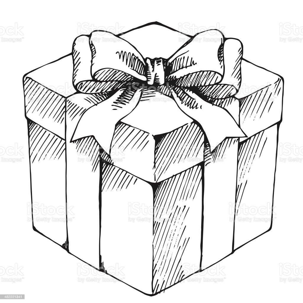 hand drawn gift box stock vector art more images of birthday