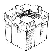 Hand drawn gift box illustration. EPS8, AI10, high res jpeg included.