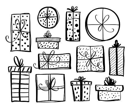 Hand drawn gift boxes set. Ink illustration. Isolated on white background.