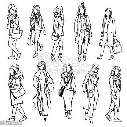 istock Hand drawn girls.Vector illustration. 1197707768